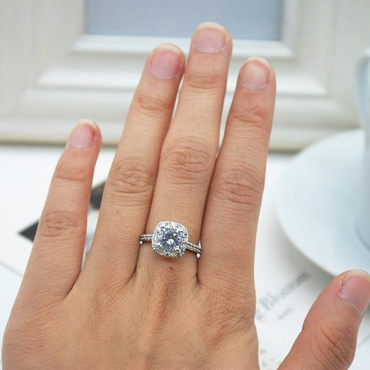 9.2.5 Proposal Band Cushion Square Small 1.4ct Eternity Single Solitaire 925 Silver Halo All Engagement Ring Image 6