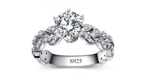 9.2.5 2.5ct Single Solitaire Diamond Cz Crystal Vintage Proposal Sterling Silver 925 Logo All 5 Engagement Ring