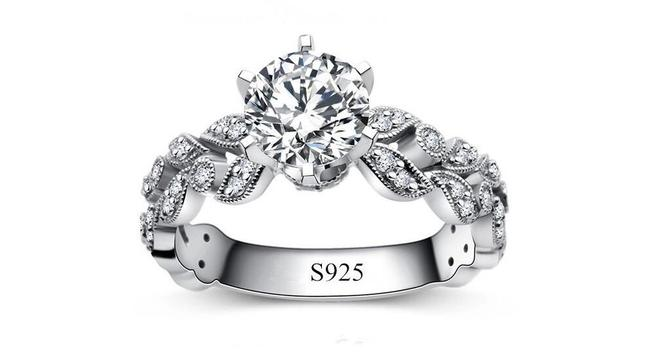 Item - 2.5ct Single Solitaire Diamond Cz Crystal Vintage Proposal Sterling Silver 925 Logo All 5 Engagement Ring
