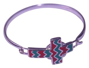 Other Coral and Teal chevron cross bracelet