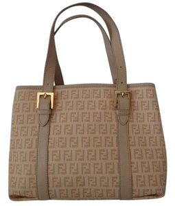 Fendi Monogram Top Handle Tote in Beige