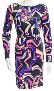 Emilio Pucci Longsleeve Monogram Print Silk Belted Dress