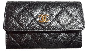 Chanel New Unused Authentic Black Caviar Card Holder Coin Small Wallet