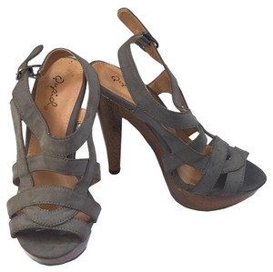 Qupid Open Toe Slingback Summer Casual Gray Sandals