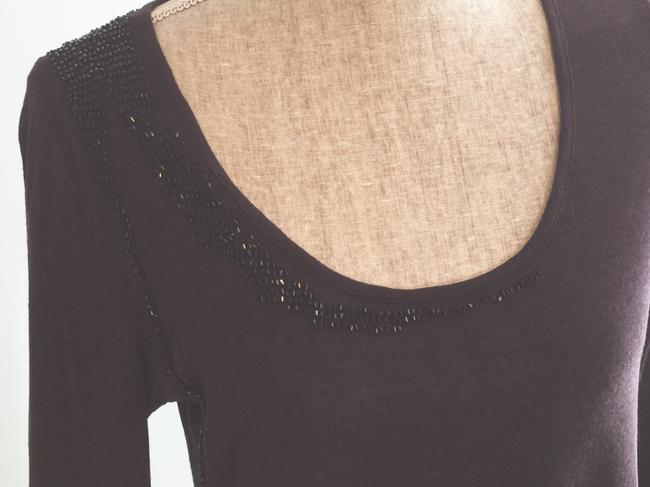 Other Beaded Night Out Tops Embellished Tees Assymetric Tees T Shirt Black Image 3