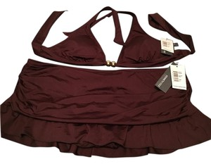 Kenneth Cole Reaction NWT Brown Banded Halter with Flounce Skirted bottom