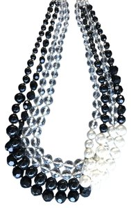 White House | Black Market WHBM Statement Necklace Black and Pearl