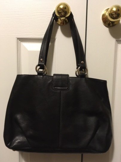 Coach Leather Tote Designer Satchel in Black Image 1