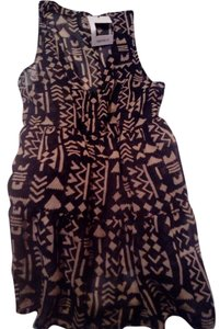 XXII Sleeveless Sheer Tribal Print Brown/ Black Top Sheer Brown/Black