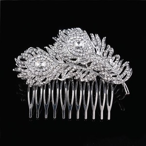 9.2.5 Leaf Vine Vintage Hair Crystal Comb Leaf 2 Double Rhineshone Clear Pageant Prom