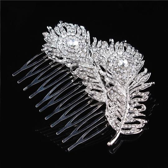 9.2.5 Leaf Vine Vintage Hair Crystal Comb Leaf 2 Double Rhineshone Clear Pageant Prom Image 1