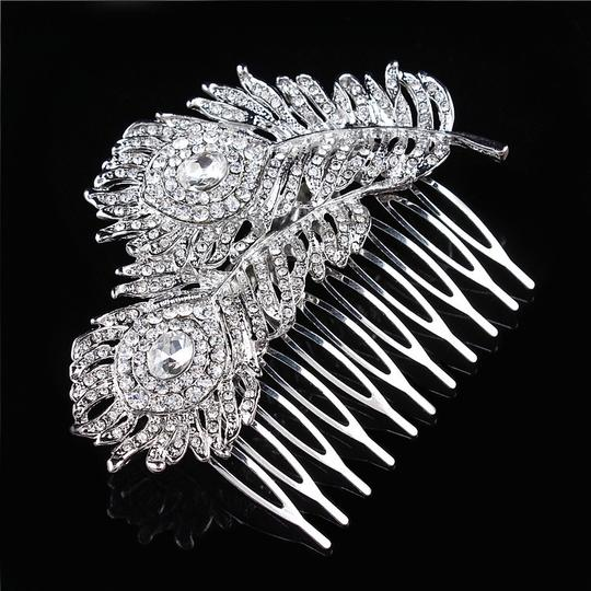 9.2.5 Leaf Vine Vintage Hair Crystal Comb Leaf 2 Double Rhineshone Clear Pageant Prom Image 2