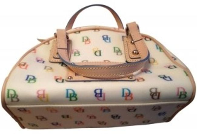Dooney & Bourke Mini Gym Light Beige with D&b Colorful Logos and Light Tan Vinyl Leather Shoulder Bag Dooney & Bourke Mini Gym Light Beige with D&b Colorful Logos and Light Tan Vinyl Leather Shoulder Bag Image 1