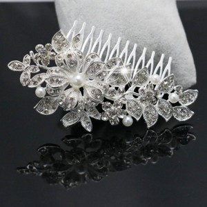 9.2.5 Leaf Vine Vintage Crystal Comb Leaf 2 Double Rhineshone Clear Pageant Prom Flower Pearl Hair Accessory