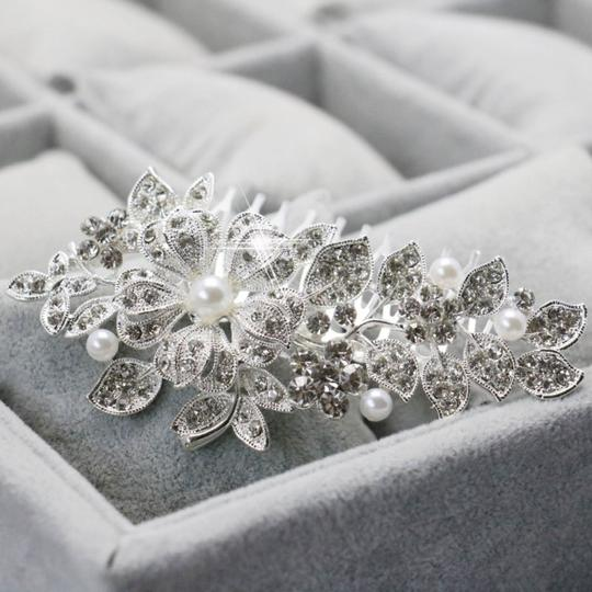 9.2.5 Leaf Vine Vintage Crystal Comb Leaf 2 Double Rhineshone Clear Pageant Prom Flower Pearl Hair Accessory Image 1