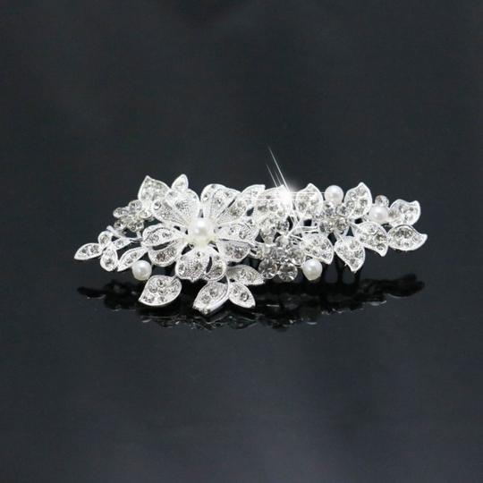 9.2.5 Leaf Vine Vintage Crystal Comb Leaf 2 Double Rhineshone Clear Pageant Prom Flower Pearl Hair Accessory Image 2