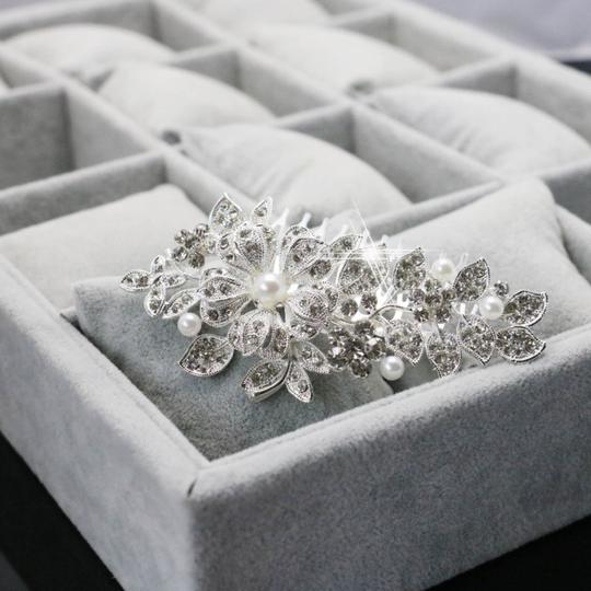 9.2.5 Leaf Vine Vintage Crystal Comb Leaf 2 Double Rhineshone Clear Pageant Prom Flower Pearl Hair Accessory Image 3