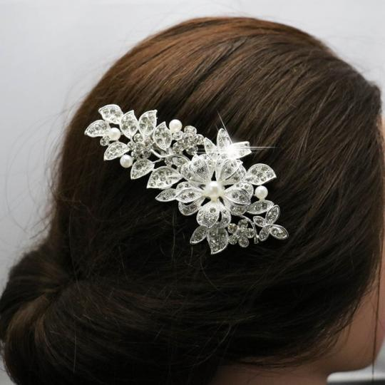 9.2.5 Leaf Vine Vintage Crystal Comb Leaf 2 Double Rhineshone Clear Pageant Prom Flower Pearl Hair Accessory Image 4