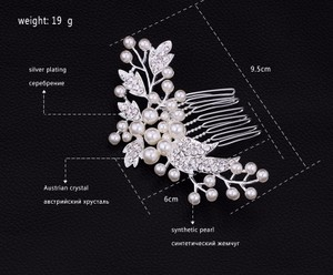 9.2.5 Leaf Vine Vintage Hair Bridal Crystal Comb Leaf Pearl Double Rhineshone Clear Pageant Prom