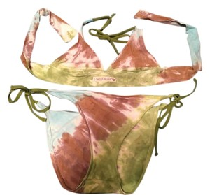 Lucky Brand Lucky Brand Blue, Green, Brown Tie Dye bikini