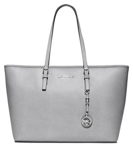 Michael Kors Grey Silver Leather Jet Set Travel Tote in Dove/Silver