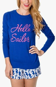 Macbeth Collection Hello Sailor Sailor Sailboats Pink Anchors Sweater