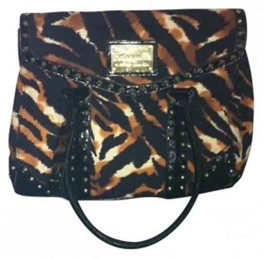 Preload https://item2.tradesy.com/images/betsey-johnson-animal-print-studded-betseyville-black-brown-white-tote-182491-0-0.jpg?width=440&height=440