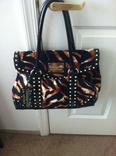 Betsey Johnson Animal Print Studded Betseyville Tote in Black, Brown, White
