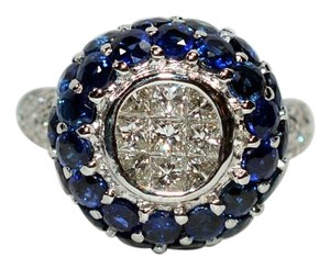 LeVian LeVian 3.75tcw Blue Sapphire & Diamond 18kt White Gold Ring