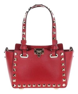 Valentino Rockstud Leather Tote in Red