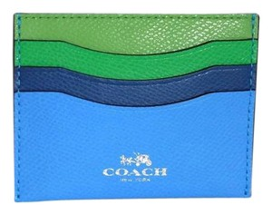 Coach Coach Colorblock Blue Green Leather ID Card Case Wallet NWT 64859