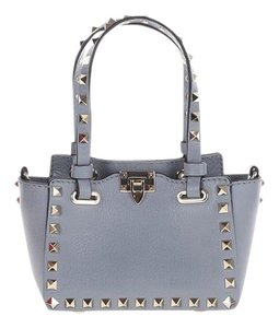 Valentino Rockstud Leather Tote in Light Stone