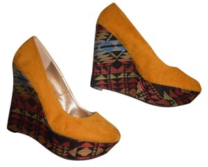 Qupid Aztec Tribal Embroidery High Heels Mustard Yellow, Black, Pink, Blue Wedges