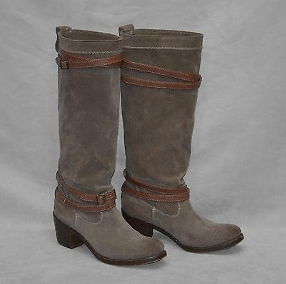 Frye Fatigue D0  76395 Jane Fatigue Frye Suede Tan Strappy Riding Boots Shoes B 7afc4c
