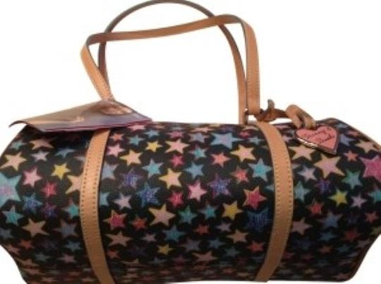 Preload https://img-static.tradesy.com/item/18251/dooney-and-bourke-barrel-straps-black-with-colorful-star-pattern-and-d-and-b-logos-me-vinyl-leather-0-0-540-540.jpg