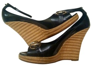 Gucci Patent Leather Black Wedges