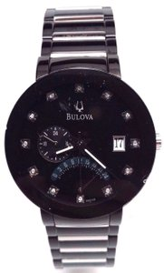 Bulova Bulova Mens 98d109 Diamond Accented Black Dial Bracelet Watch