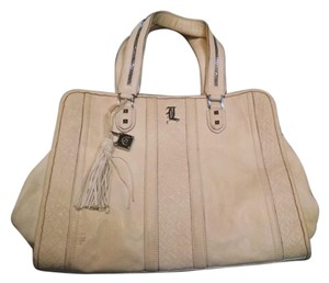 L.A.M.B. Leather Tote in Cream Beige