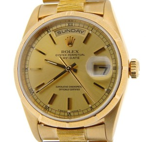 Rolex Mens Rolex Solid 18k Yellow Gold Day Date President Bark Wchampagne Dial 18238