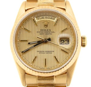 Rolex Mens Rolex Solid 18k Yellow Gold Day Date President Bark W Tapestry Dial 18238