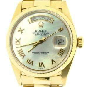 Rolex Mens Rolex Solid 18kt 18k Yellow Gold Day Date President W Mop Roman Dial 18038