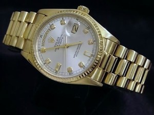Rolex Mens Rolex Solid 18k Yellow Gold Day Date President Silver Diamond Dial 18038