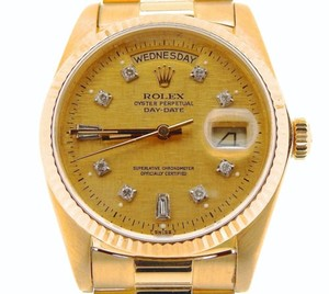 Rolex Rolex Solid 18kt 18k Yellow Gold Day Date President Wlinen Diamond Dial 18038