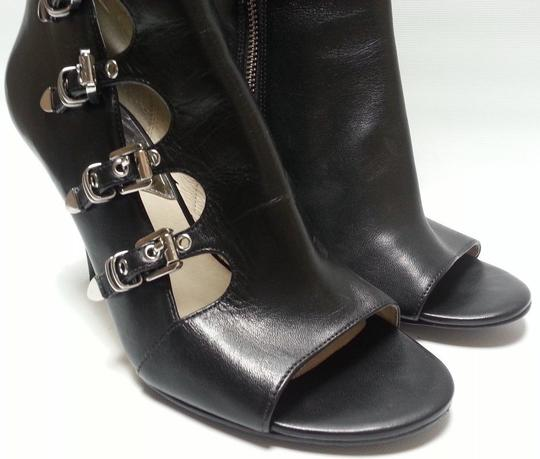 MICHAEL Michael Kors Leather Upper Style Peep Toe Buckle Closures Style N40t4cshe5l Black Boots Image 5