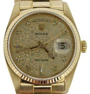 Rolex Mens Rolex Solid 18k Yellow Gold Day Date President Anniversary Diamond 18038