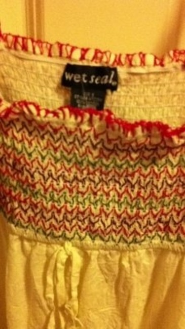 Wet Seal Summer Beach Cotton Sleeveless Shirt Mexican Latin Embroidery Flowers Floral Chevron Stretch Elastic Tube White Red Top multi