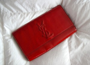 Saint Laurent Designer Ysl Red Clutch