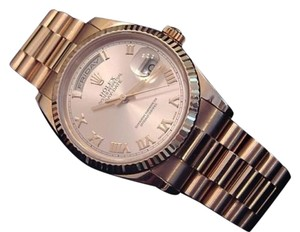 Rolex Mens Rolex Solid 18k Everose Gold Day Date President Rose Roman Style 118235
