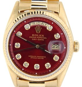 Rolex Men Rolex Solid 18k Yellow Gold Day Date President Watch Wred Diamond Dial 1803
