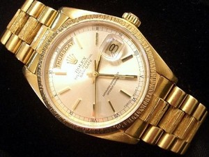 Rolex Men Rolex Solid 18kt 18k Yellow Gold Day Date President Bark Wsilver Dial 18078